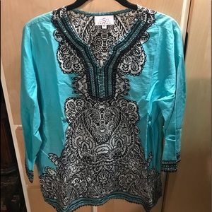 OSO CASUALS New Womans Top Blue Black Beading Sz M